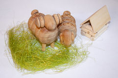 Wooden toys. A couple of sheeps on the grass Stock Image