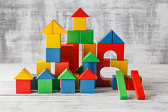 Wooden toys cube castle building game Stock Images