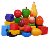 Wooden toys cubes and fruits Royalty Free Stock Photo