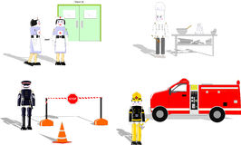 Wooden Toys depicting Careers. Rastered image of vector file showing everyday occupations Royalty Free Stock Photos