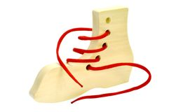 Wooden toys for the development. Of motor movements in children against white background Stock Photo