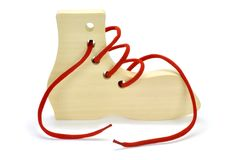 Wooden toys for the development. Of motor movements in children against white background Royalty Free Stock Images
