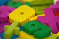 Wooden toys extreme close up Royalty Free Stock Photo