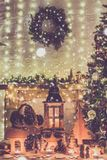 Christmas setting wooden toys royalty free stock photo