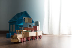Wooden toys on the floor Royalty Free Stock Photography