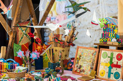 Wooden toys at Market. In Jertes Valley stock image