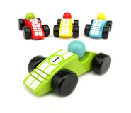 Wooden toys race cars Royalty Free Stock Photos