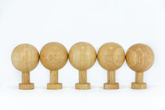 Wooden Toys. Standing on white background Royalty Free Stock Images
