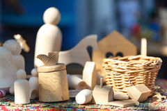 Wooden toys on wooden table. Colorful toys made from wood Stock Images