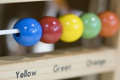 Wooden toys to learn and play with shapes. And color royalty free stock photo