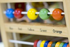 Wooden toys to learn and play with shapes and color selective f. Ocus stock image