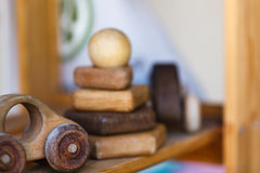 Wooden toys on wooden table. Colorful toys made from wood Stock Photos