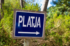 Wooden track road sign in Mediterranean Royalty Free Stock Image