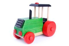 Wooden tractor. Isolated on white Stock Photography