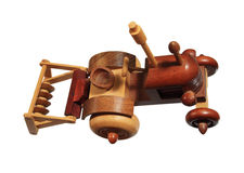 Wooden tractor toy Royalty Free Stock Photography