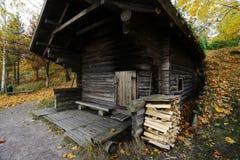 Wooden traditional Finnish sauna in autumn. Outdoor stock photos