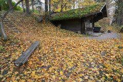 Wooden traditional Finnish sauna in autumn. Outdoor royalty free stock image