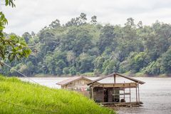 Wooden traditional house on the coast of the river kalimantan Royalty Free Stock Image