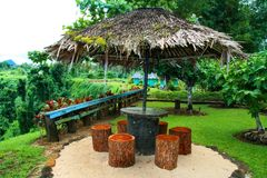 Wooden traditional Polynesian shelter with palm thatch roof, Sopoaga Waterfall resort in Samoa, Upolu Island. Wooden traditional Polynesian shelter with palm stock photo
