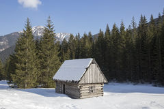 Wooden traditionally shed in the polish mountains Royalty Free Stock Photography