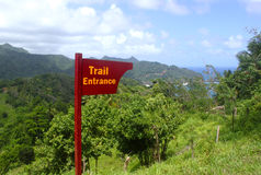 Wooden Trail Entrance Sign, Dominica, Caribbean islands Royalty Free Stock Image