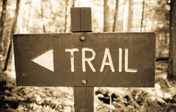 Wooden Trail Sign Stock Photography