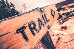 Wooden Trail Sign. Closeup Photo Stock Photo