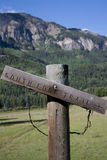 Wooden Trail Sign in Mountains Royalty Free Stock Photography