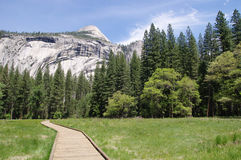 Wooden trail to Horsetail fall, Yosemite National Park Royalty Free Stock Photos