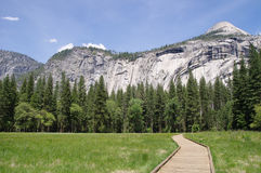 Wooden trail to Horsetail fall, Yosemite National Park Stock Photo