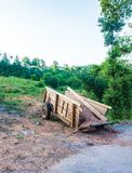 Wooden trailer in the garden. Wood stock photos