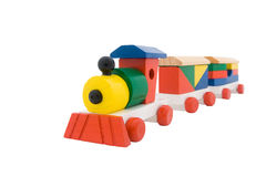 Wooden train. Isolated on a white background Royalty Free Stock Photos