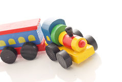 Wooden Train. Vintage Colorful Wooden Train Toy stock images