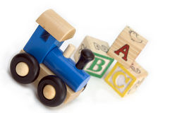 Wooden train and blocks Stock Photography