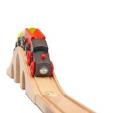 Wooden train on a bridge Stock Photos