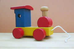 Wooden train. Children colorful wooden train toy Royalty Free Stock Images