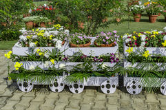 Wooden train decorated with flowers Stock Image