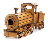 Wooden train isolated on the white background Stock Images