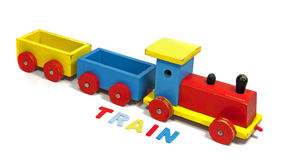 Wooden train with letters Royalty Free Stock Photos