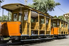 Wooden Train. A wooden train in Mallorca, Spain Royalty Free Stock Images