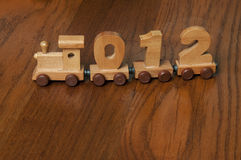 Wooden train of numbers Royalty Free Stock Image