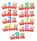 Wooden train with numbers 1 to 9. Birthday party Royalty Free Stock Photo
