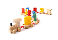 Wooden train with numbers Stock Photography