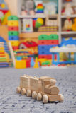 Wooden train in the play room Stock Image