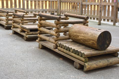 Wooden train on playground Stock Photography