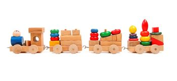 Wooden train puzzle with coaches Royalty Free Stock Photography