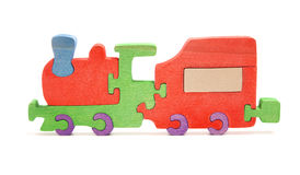Wooden train puzzle Royalty Free Stock Images