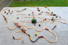 Wooden train set royalty free stock image