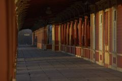 Wooden train station in estonia. Platform of a wooden train station in Haapsalu / Estonia Royalty Free Stock Photography