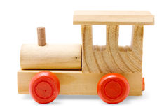 Wooden train toy. With red wheels on white background Stock Image